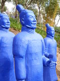 Blue terracota warrior. S lined up Royalty Free Stock Photo