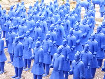 Blue terracota warriors line up. Blue terracota warriors lined up Royalty Free Stock Images