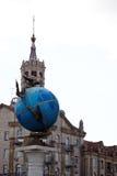 Blue terrestrial globe sculpture, Kiev Stock Photo