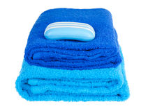 Blue terry towels and soap Royalty Free Stock Photography