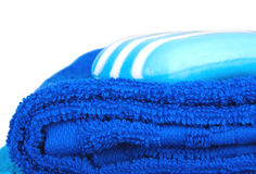 Blue terry towels and soap Stock Images