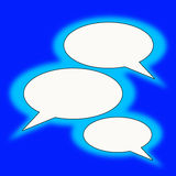 Blue text balloons. With white copyspace provided Royalty Free Stock Images
