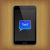 Blue text bubble in phone. Vector illustration Royalty Free Stock Images