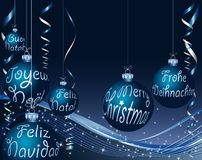 Blue text christmas Stock Photos