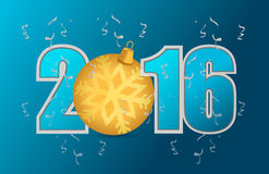 2016 blue text and gold ornament Stock Image