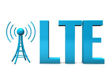 LTE Antenna. Blue text LTE with blue antenna on the white background Royalty Free Stock Image