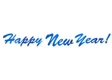 Blue text in snowflakes Happy New Year Royalty Free Stock Photo