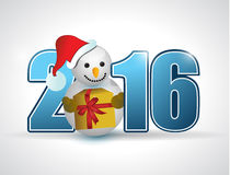 2016 blue text and snowman and gift Royalty Free Stock Photos