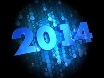 Blue Text 2014 Year on Dark Digital Background. 2014 Year - Blue Color Text on Dark Digital Background Stock Photography