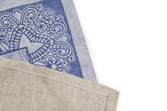 Blue textile background tablecloth texture. With the national pattern Royalty Free Stock Photography