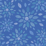 Blue textile peony flowers seamless pattern Royalty Free Stock Photo