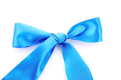 Blue textile ribbon isolated. On white Stock Images