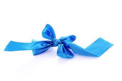 Blue textile ribbon isolated. On white Stock Photography