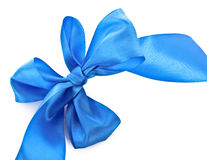 Blue textile ribbon isolated. On white Stock Photo