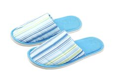 Blue, textile, unisex slippers Stock Images