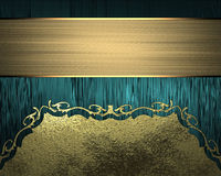 Blue texture with gold ornaments and gold ribbon. Element for design. Template for design. copy space for ad brochure or announcem Royalty Free Stock Photography