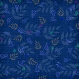 Blue textured background with fern pattern Stock Photo