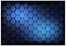 Blue Thai Vintage Wallpaper Background with Foral Pattern Royalty Free Stock Photos