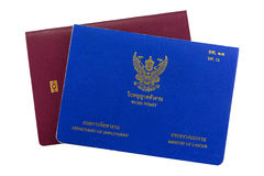 Blue Thai Work Permit book on electronic passport isolated on wh Stock Image
