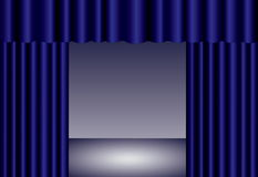 Blue theater curtain Stock Images