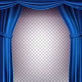Blue Theater Curtain Vector. Transparent Background. Banner For Concert, Party, Theater, Dance Template. Realistic. Blue Theater Curtain Vector. Transparent Royalty Free Stock Image