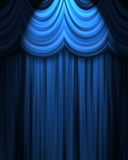 Blue theatre curtain. With spotlight royalty free illustration
