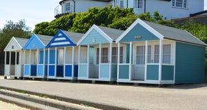 Blue theme beach huts Royalty Free Stock Photo