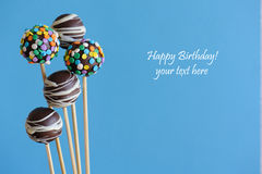Blue theme chocolate cake pops Royalty Free Stock Images