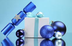 Blue theme Christmas gift and bauble decorations Royalty Free Stock Image
