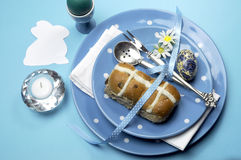 Blue theme Easter dinner or breakfast table setting Royalty Free Stock Images