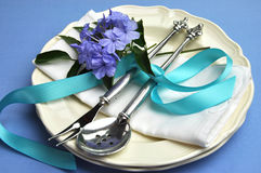 Blue theme formal dinner table setting. Royalty Free Stock Image