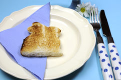 Blue theme Happy Easter breakfast table with bunny rabbit toast - Close-up Royalty Free Stock Image