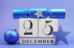 Blue theme Save the Date calendar for Christmas Day, December 25. Blue theme Save the Date calendar for Christmas Day, December 25, with bauble and reindeer Royalty Free Stock Images