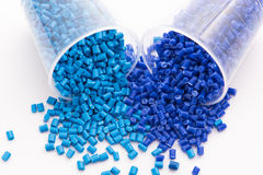 Blue thermoplastic resins Stock Photos