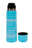 Blue thermos Stock Images
