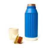 Blue thermos bottle Stock Photos