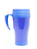 Blue thermos for coffee mug Royalty Free Stock Image