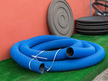 Blue thick hose Royalty Free Stock Image