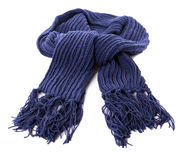 Blue thick warm winter scarf isolated on white background Royalty Free Stock Image