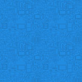 Blue Thin Line Internet of Things Seamless Pattern Stock Images