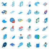 Blue thing icons set, isometric style. Blue thing icons set. Isometric style of 36 blue thing vector icons for web isolated on white background Royalty Free Stock Photography