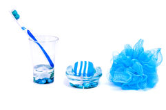 Blue things for bathroom Royalty Free Stock Images