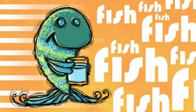 Thirsty fish, fish text. Blue thirsty fish, taking a glass of water, fish text on orange background stock illustration