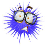 Blue thorn ball with scared face Stock Photos