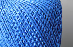 Blue Thread. Deep blue, woven thread, crossing pattern background. Textile material Stock Photos