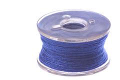 Blue Thread Bobbin Macro Isolated Stock Image