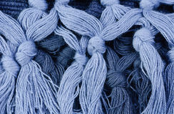 Blue thread . Macro. Stock Image