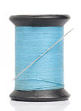Blue Thread with Needle Stock Photos