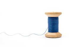 Blue thread spool Royalty Free Stock Photo
