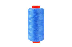 Blue thread. On the white background Royalty Free Stock Photo